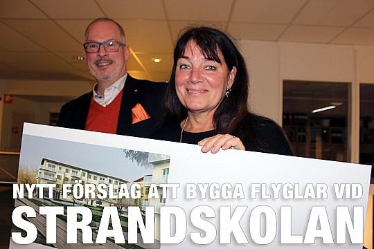 Roger Sixtensson, Libo, och arkitekten Tina Wik visar en av skisserna på flyglarna. Foto: Hans Andersson