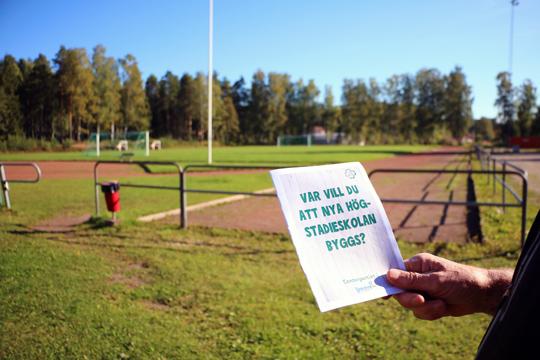 Stadsskogsvallen är inte den bästa platsen för en skola, proklamerade Centerpartiet inför valet. Arkivfoto: Fredrik Norman