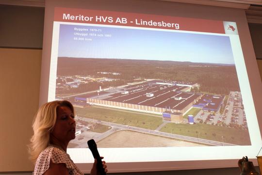 Ann-Louise Johansson från Meritor gjorde debut på Rotarys lunchmöte på Stadshotellet. Foto: Hans Andersson