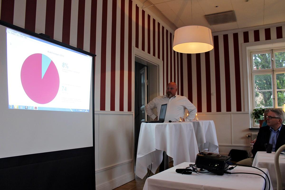 Anders Rosenholm visar siffror på företagande i Lindesberg. Foto: Ida Lindkvist