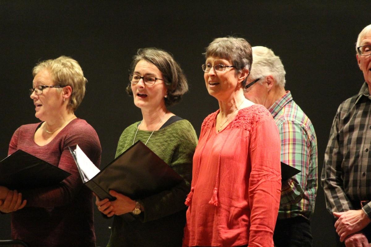 Publiken och kören hjälps åt med de olika stämmorna. Foto: Ida Lindkvist
