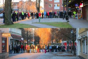 Köandet fortsatte utanför biblioteket och banken. Foto: Fredrik Norman