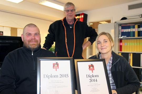 Henrik Carlzon, Bernt Carlzon och Ann-Sofie Gunnarsson på Jardlers Åkeri - som två gånger blivit DI-gasell. Foto: Hans Andersson