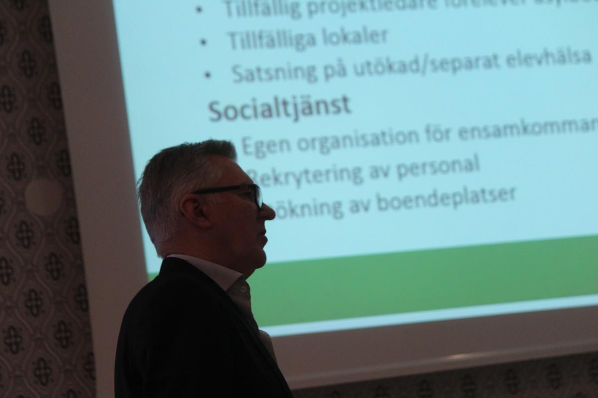 Kommunchef Christer Lenke talade vid dagens Rotarylunch. Foto: Ida Lindkvist