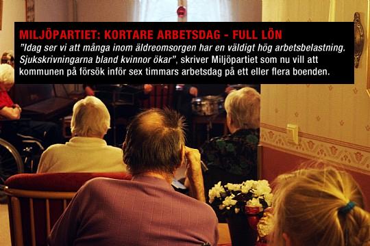Miljöpartiet vill se kortare arbetsdag för personal inom äldreomsorgen. Arkivfoto: Ida Lindkvist