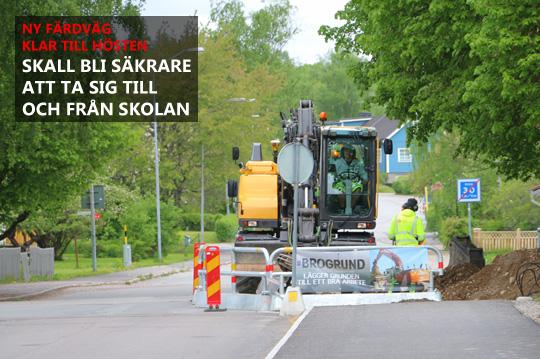 Arbetet med den nya gång- och cykelvägen genom Brodalsområdet, har påbörjats igen efter vinteruppehållet. Foto: Fredrik Norman
