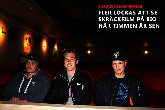 Kompisarna Arvid, Filip och Christoffer i väntan på att se kvällens skräckfilm. Blair Witch. Foto: Jennie Larsson