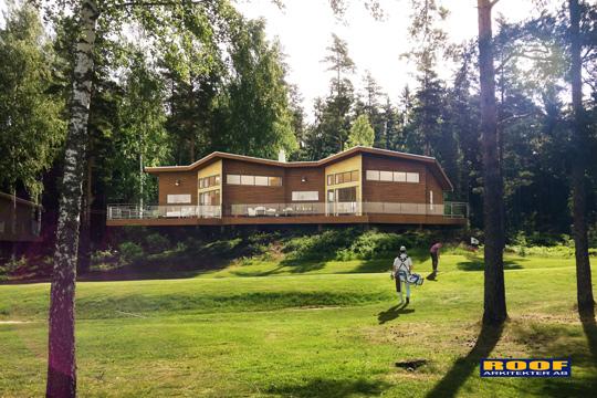 Byggstart för bostäder nära skog, fiskevatten och golfbana. Bild: ROOF Arkitekter