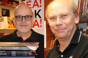 Delägarna Olle och Per firar 30 år som bokmalar i Lindesberg under kommande år. Foto: Monika Aune / Fredrik Norman.