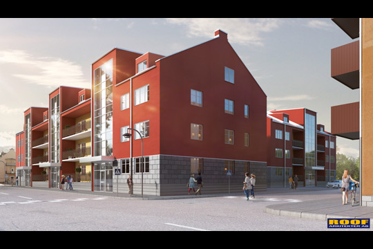 """Mittemot Frosths och Gencos, vill kommunen bygga bostäder på den s k """"Teliatomten"""". Bild: ROOF ARKITEKTER"""