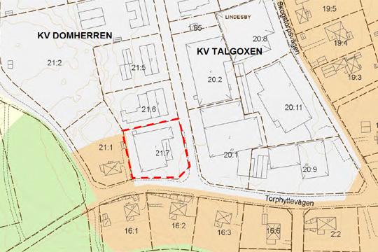 Beslut fattat för att bevara förskolan Solberga (streckad tomt/fastighet) och den småskaliga industri som finns i grannskapet. Kartbild: Lindesbergs kommun.