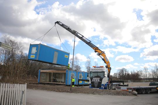 Byggets högkvarter byggs upp. Foto: Fredrik Norman