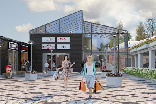 Entré från Koppgatan med ICA-parkeringen till höger i bild. Så här såg visionen ut för några år sedan - och nu har det blivit aktuellt på riktigt. Bild: ROOF ARKITEKTER