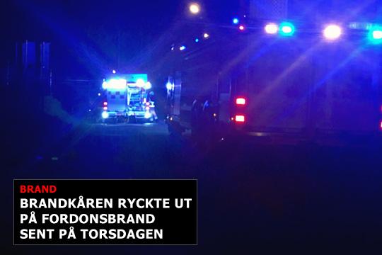 Nerikes Brandkår ryckte ut på en fordonsbrand vid 23-tiden på torsdagskvällen. Foto: Camilla Lagerman